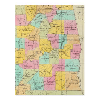Map of the State of Alabama Postcard