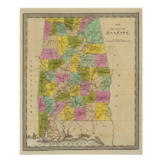 Map of the State of Alabama Poster