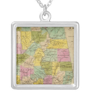 Map of the State of Alabama Silver Plated Necklace