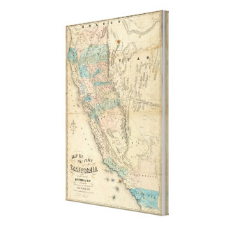 Map of the State of California Canvas Prints