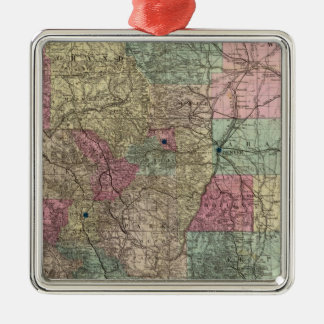 Map of the State of Colorado Silver-Colored Square Decoration