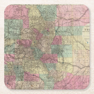 Map of the State of Colorado Square Paper Coaster
