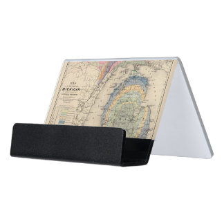 Map of the State of Michigan Desk Business Card Holder