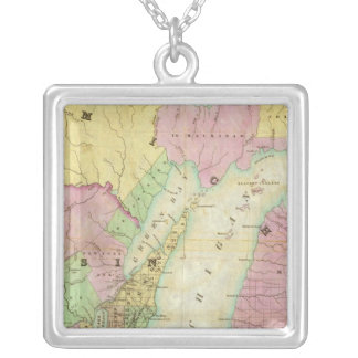 Map of the State of Michigan Silver Plated Necklace