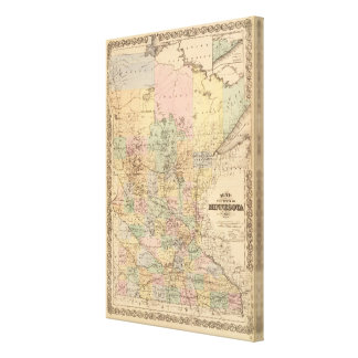 Map of the State of Minnesota, 1874 Stretched Canvas Print