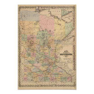 Map of the State of Minnesota, 1874 Poster