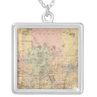 Map of the State of Minnesota, 1874 Silver Plated Necklace