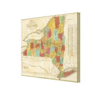 Map Of The State Of New York Canvas Print