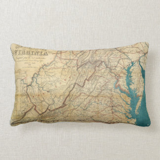 Map of the State of Virginia (1862) Lumbar Cushion