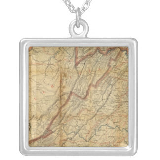Map of the state of Virginia Silver Plated Necklace