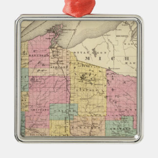 Map of the State of Wisconsin Silver-Colored Square Decoration