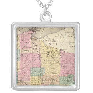 Map of the State of Wisconsin Silver Plated Necklace