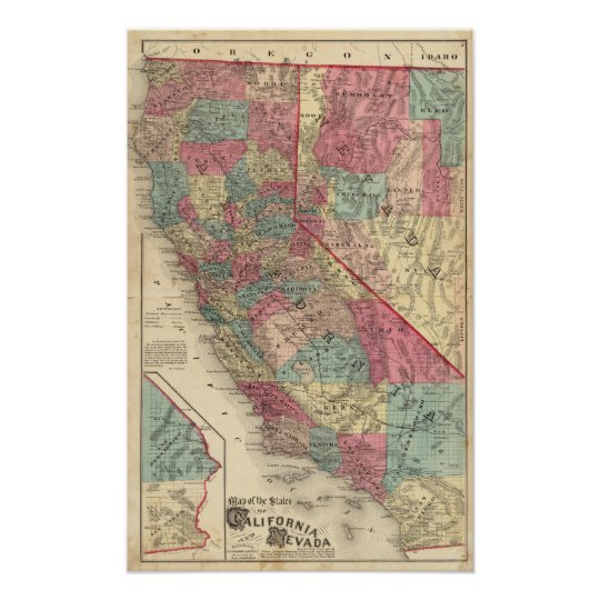 Map of the States of California and Nevada