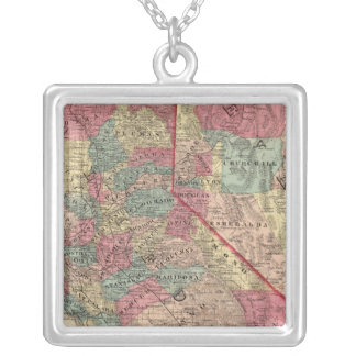 Map of the States of California and Nevada Silver Plated Necklace