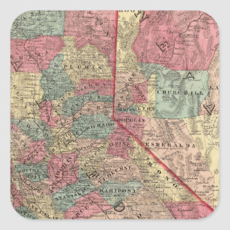 Map of the States of California and Nevada Square Sticker