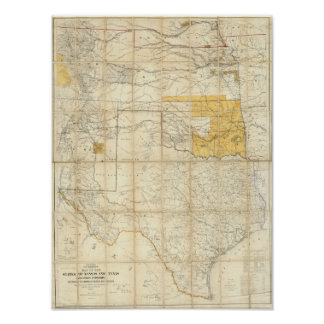 Map Of The States Of Kansas And Texas Poster