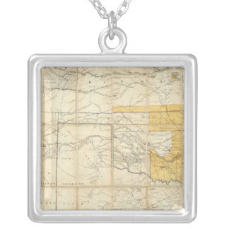 Map Of The States Of Kansas And Texas Silver Plated Necklace