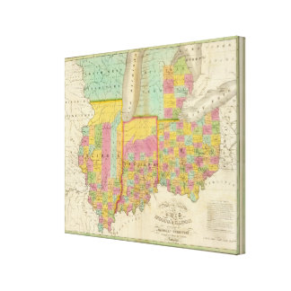 Map of the States Of Ohio Indiana & Illinois Canvas Print