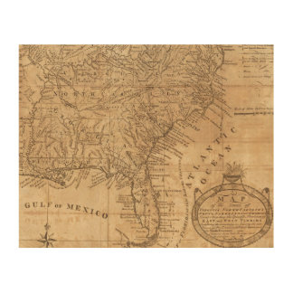 Map of the States of Virginia and North Carolina Wood Wall Decor