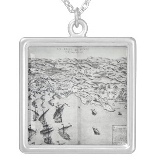 Map of the Taking of Tunis Silver Plated Necklace