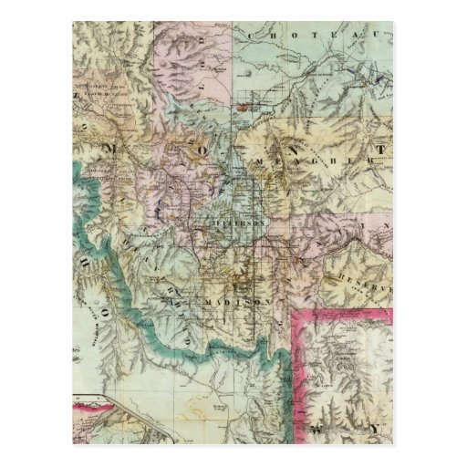 Map Of The Territory Of Montana Post Card