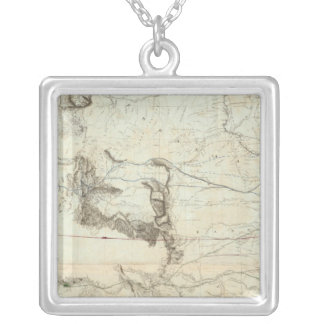 Map Of The Territory Of The United States Silver Plated Necklace