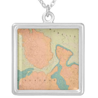 Map Of The Uinkaret Plateau Silver Plated Necklace