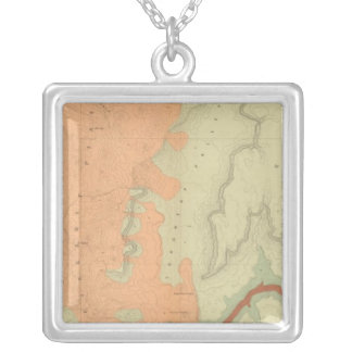 Map Of The Uinkaret Plateau South Half Silver Plated Necklace
