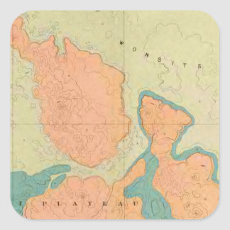Map Of The Uinkaret Plateau Square Sticker