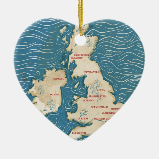 Map of the United Kingdom Vintage Poster Christmas