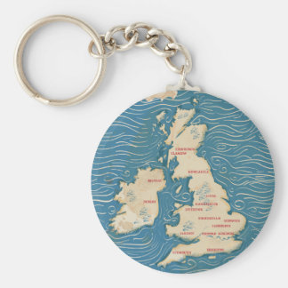 Map of the United Kingdom Vintage Poster Key Ring