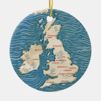 Map of the United Kingdom Vintage Poster Round Ceramic Decoration