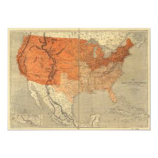 Map of the United States (1861) 13 Cm X 18 Cm Invitation Card