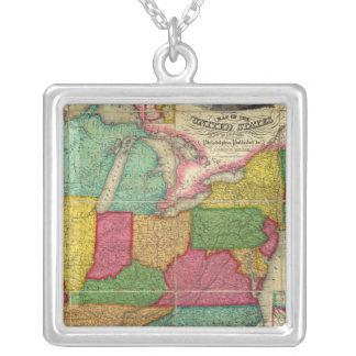 Map of the United States 2 Silver Plated Necklace