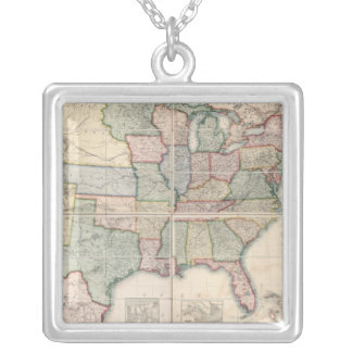 Map of The United States 3 Silver Plated Necklace