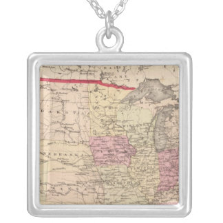 Map of the United States 5 Silver Plated Necklace