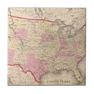 Map of the United States 5 Small Square Tile