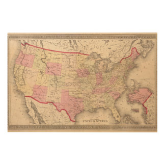 Map of the United States 5 Wood Print