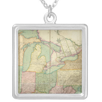 Map of the United States 6 Silver Plated Necklace