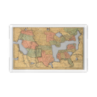 Map of the United States and Canada Acrylic Tray