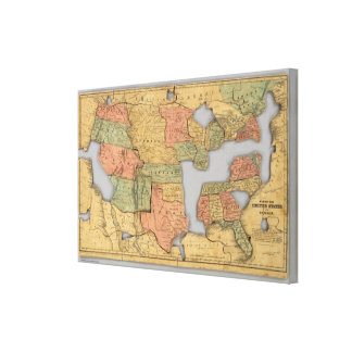 Map of the United States and Canada Canvas Print