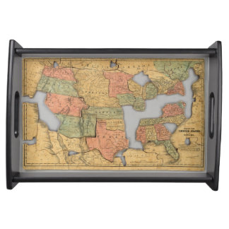 Map of the United States and Canada Serving Tray