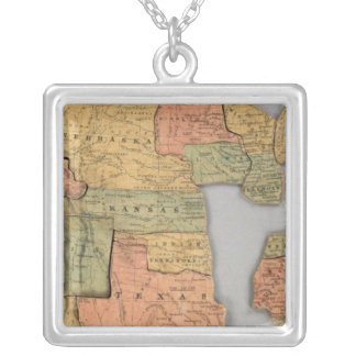Map of the United States and Canada Silver Plated Necklace