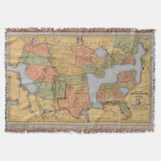 Map of the United States and Canada Throw Blanket