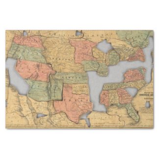 Map of the United States and Canada Tissue Paper