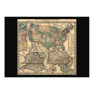 Map of the United States and Territories (1861) 5x7 Paper Invitation Card