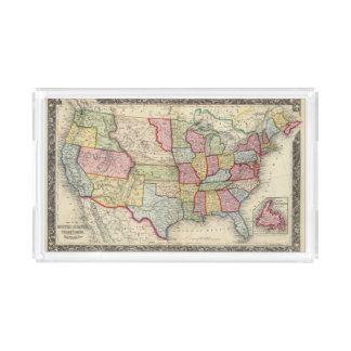 Map Of The United States, And Territories Acrylic Tray