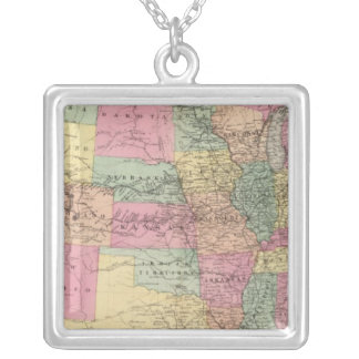 Map of the United States and territories Silver Plated Necklace