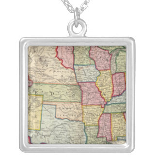 Map Of The United States, And Territories Silver Plated Necklace