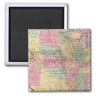 Map of the United States and territories Square Magnet
